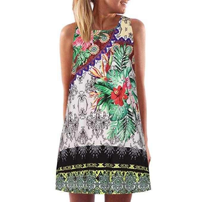 Vintage Boho Womens Summer Sleeveless Beach Printed Short Shirt Mini Dress Top