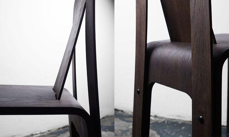 Humble Chair details - studio FEM. Easy assemble - 4 screws. Flexible wood - back in 4mm plywood