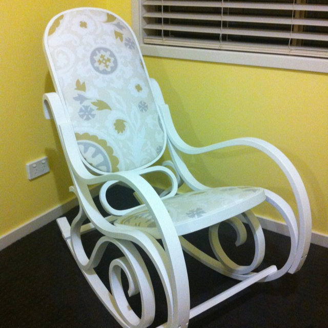 Refurbished vintage bentwood rocking chair - fabric from etsy.com