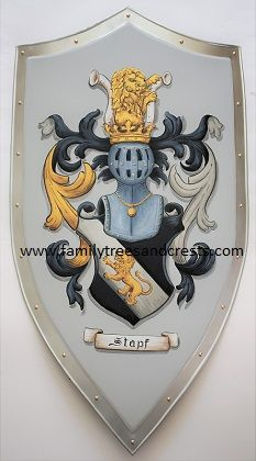 Steel medieval knight shield - shield w. family crest painted w. gold leaf paint