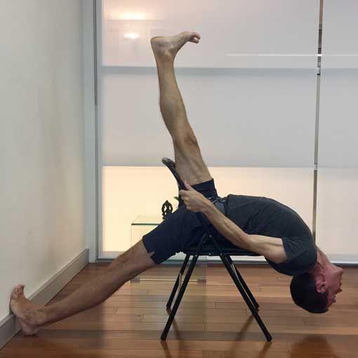Learn Iyengar Yoga Chair Backbends Dwi Pada Viparita Dandasana And Eka Pada Viparita Dandasana Are Shown Here With Step By Ste Iyengar Yoga Yoga Backbend Yoga