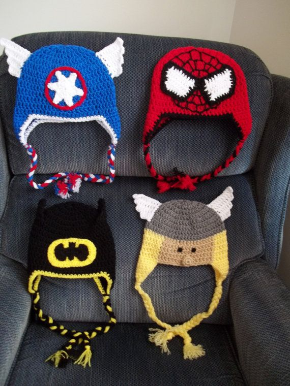 Crocheted Super Hero Hats, Crocheted Toddler Hats,Crocheted Viking Toddler Hat, Bat Toddler Hat,Crocheted Character Hat