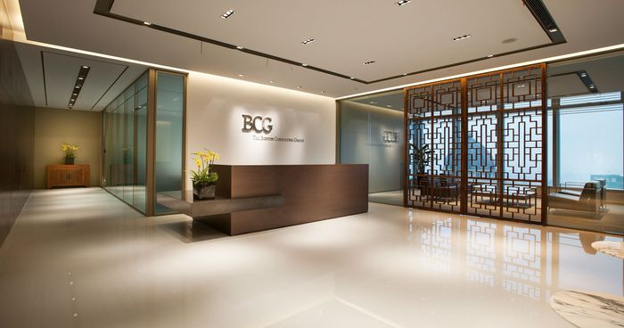The Boston Consulting Group: Boston Consulting Group is a world-leader in management consulting with operations in 43 countries. The open-plan architecture of the Shanghai headquarters, designed by M Moser, gives this office a sense of openness and flexibility, while the sleek, wooden textures of the decor and fixtures adds a subtle sense of class and quality.