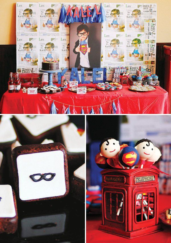 A Superman Birthday Party with the classic shirt logo birthday cake, telephone booth decor, Smallville farm dessert table, Kryptonite candy table & more...
