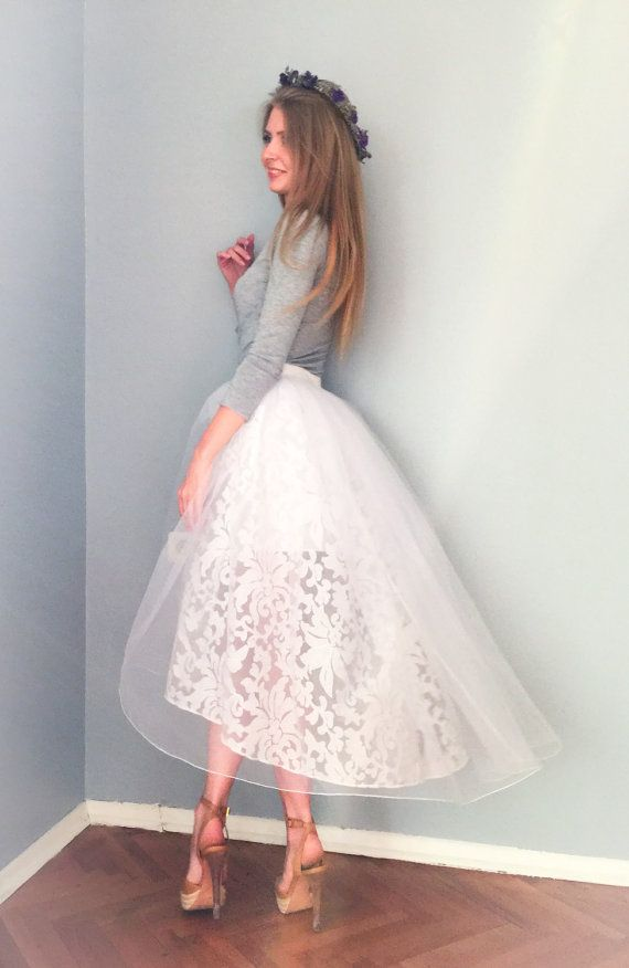 White Organza Party Skirt by NelliUzun on Etsy
