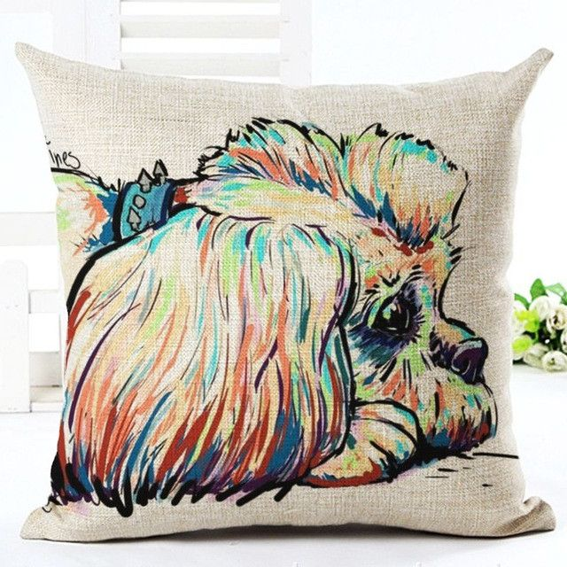 Square Cotton Linen Colorful Bull Terrier Painted Bull dog dachshund 3D Cheap Cushion Cover For Home Sofa Pillow Case