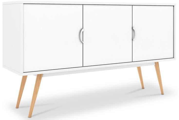 Ce Buffet 3 portes de couleur blanc de la collection Scandinave est entièrement fait de bois. Son design a été conçu de façon à stocker une grande quantité de vos biens les plus précieux. La collection scandinave est l'une des tendances les plus en vogue actuellement en matière de design d´intérieur H 70 x L 120 x P 40 cm- Poids 41Kg Matériau de la structure MDF, Mélamine Matériau des pieds Hêtre Finition Mat