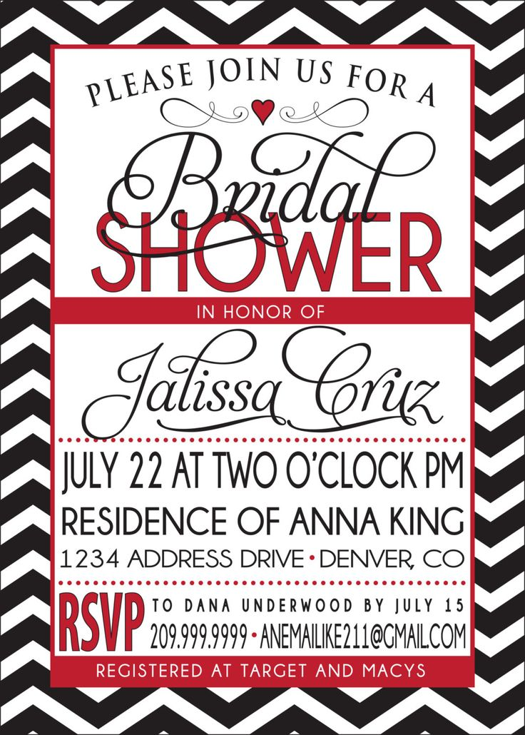 BRIDAL SHOWER INVITATION red and black. $18.00, via Etsy.