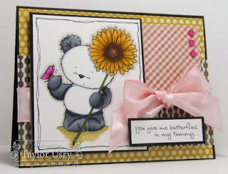 Card by: Taylor Usry #spectrumnoir #crafterscompanion Bamboo: IG2, IG4, IG6, IG8 (white areas: IG1 and Blender) Butterfly: BP2 and BP6 Flower: GB1, GB2, GB4, GB6, TN3, TN4, EB3, DG4 Ground: EB2, EB1, BG1 Outline: IG1, FS2