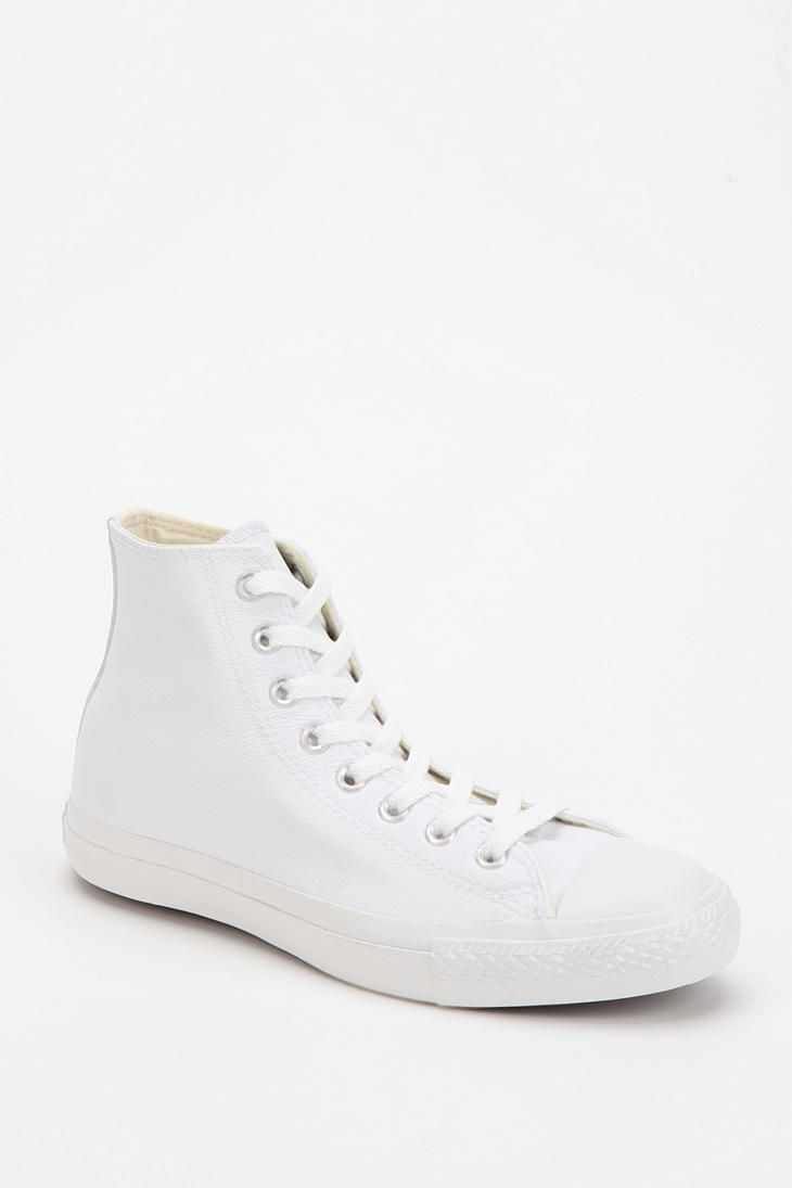 White leather Converse High-Tops, we've been waiting for you. #urbanoutfitters