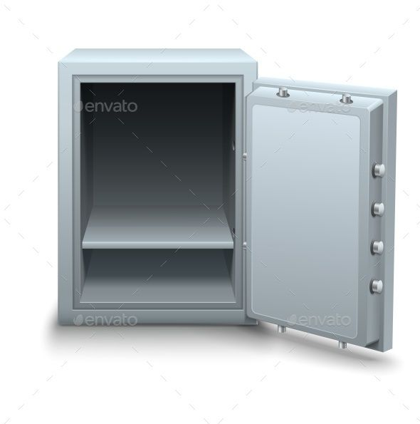 Empty Bank Safe for Money Business Concept Icon