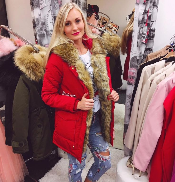 RED PARKA WITH BEIGE FUR