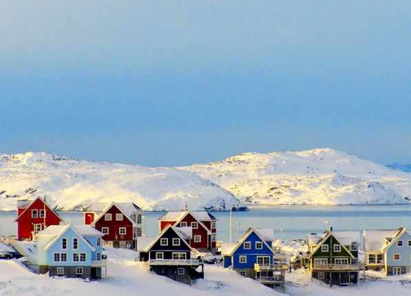 Nuuk, the adorably colorful capital city of Greenland is also one of the coldest places on Earth.
