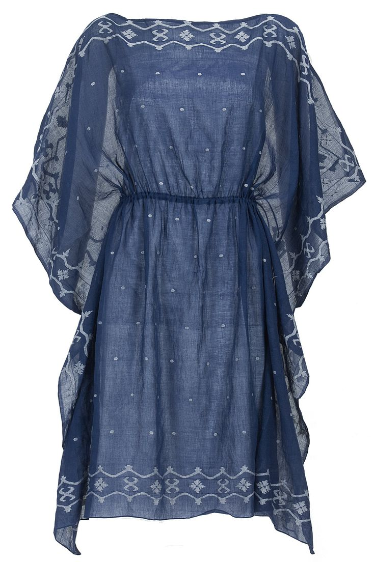 Blue and ivory kaftan dress available only at Pernia's Pop-Up Shop.