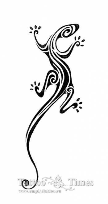Эскиз татуировки ящерица