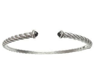 Judith Ripka Sterling Silver Cuff with Black Sp inel Endcaps