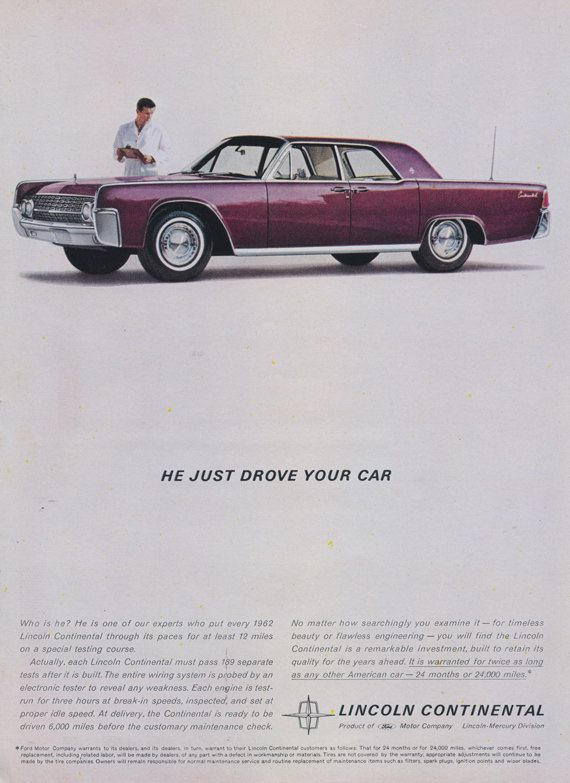 1962 Lincoln Continental Car Ad Ford Classic by AdVintageCom