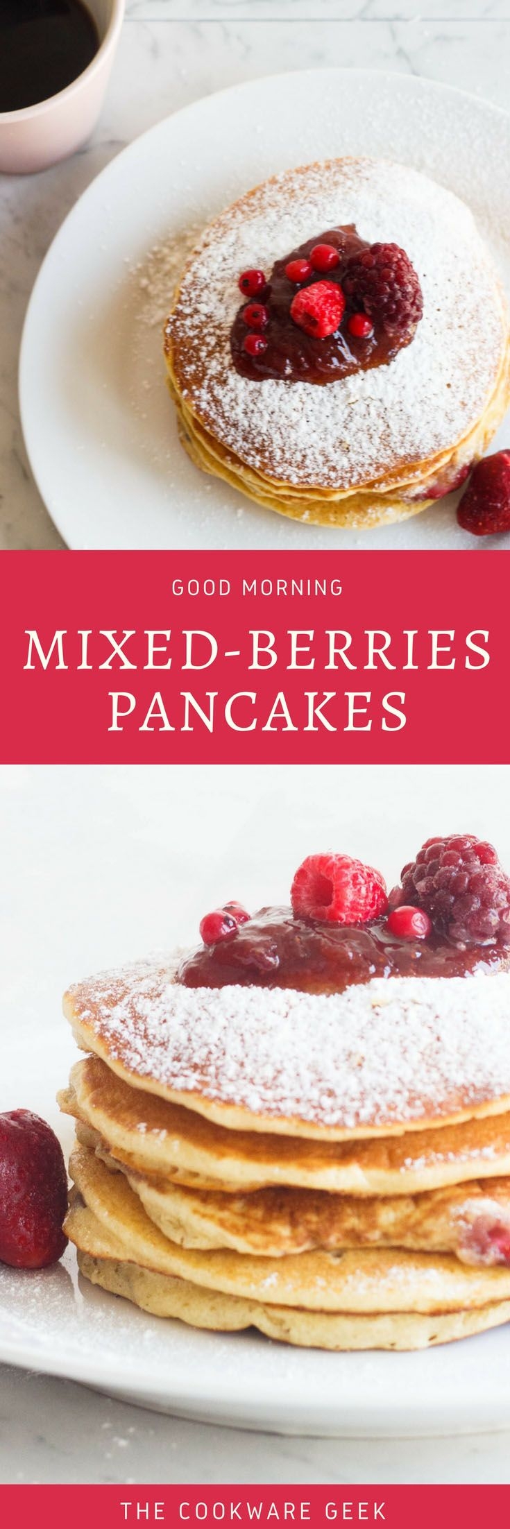 These mixed berries pancakes are a winner recipe for the Sunday brunches with your family. The pieces of berry make a splash of acidity in your mouth.
