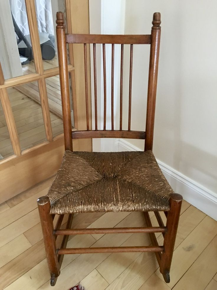 Antique spindle back rocking chair original rush seat hand