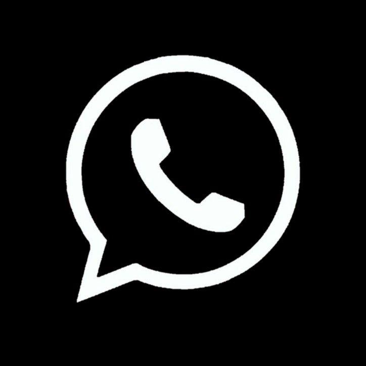 Whatsapp Black Ikon Aplikasi Gambar Garis Kopi Putih