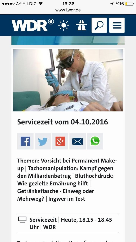 """Hier der Beitrag unserer Düsseldorfer Praxis bei WDR Verbraucher Magazin  """"Vorsicht bei Permanent Make-up""""  Danke Hülya & Birgit für die Zusammenarbeit😘"""