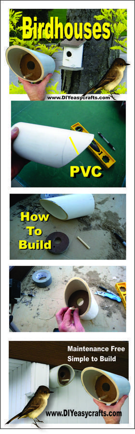 How to build a easy DIY PVC birdhouse. www.DIYeasycrafts.com #diybirdhouse #birdhousetips #buildabirdhouse #howtobuildabirdhouse