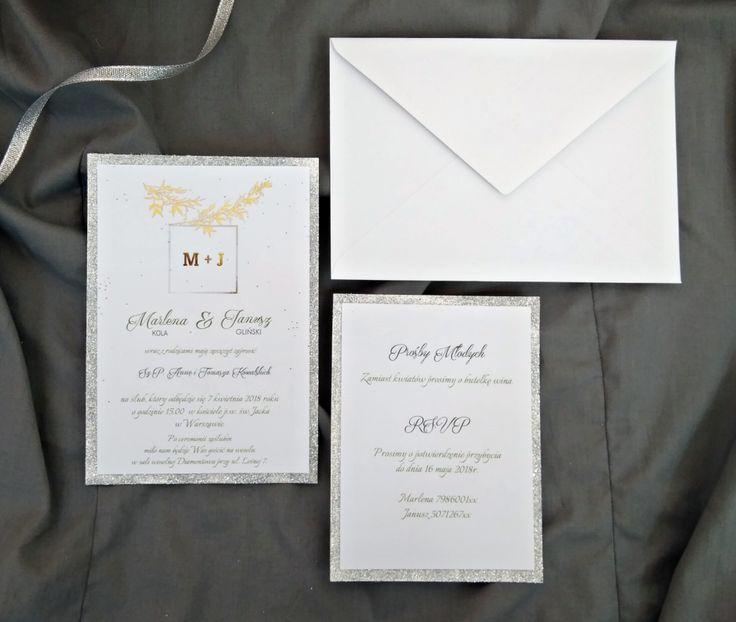 Zaproszenia ślubne glamour srebro, złoto i gałązka oliwna