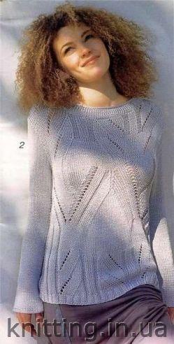 Летний пуловер с ленточной пряжи