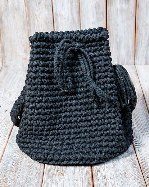 Umhängetaschen - Torebka sznurkowa w kolorze czarnym - ein Designerstück von Mayalove- bei DaWanda