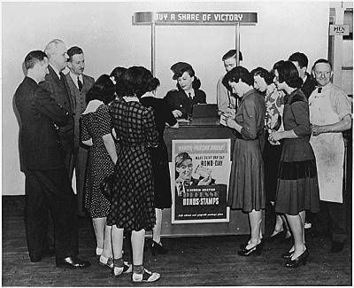Woman at Booth Selling War Bonds