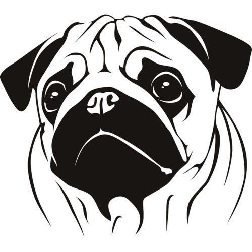 Pugs Head Wall Stickers Animal Wall Decal ART | eBay