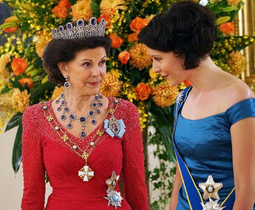 Queen Silvia and Jenni Haukio during the state dinner at the Presidential Palace, in Helsinki