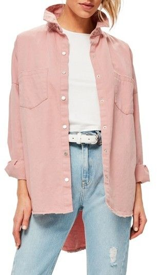 Missguided Women's Back Graphic Oversize Denim Shirt