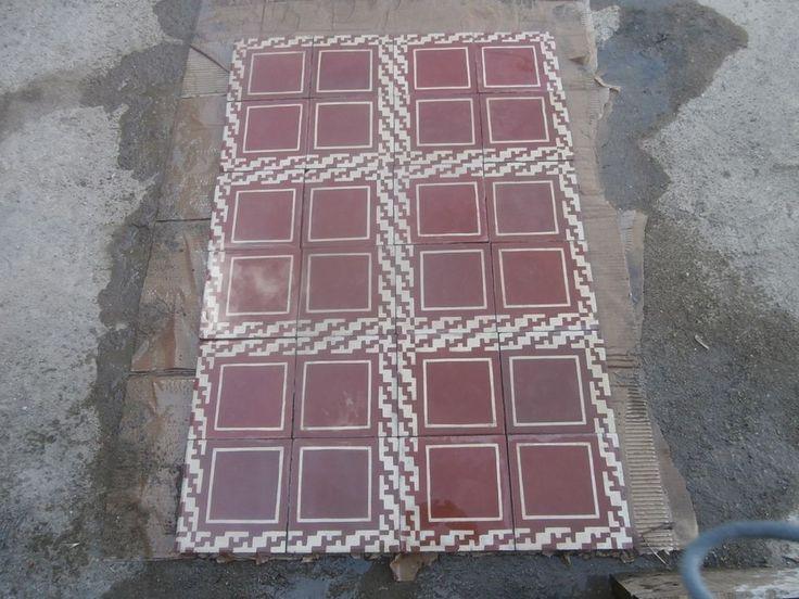 Antique encaustic tiles - panel  550 tiles - 236sq ft floor or wall