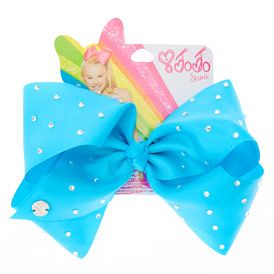 JoJo Siwa Large Rhinestone Blue Signature Hair Bow
