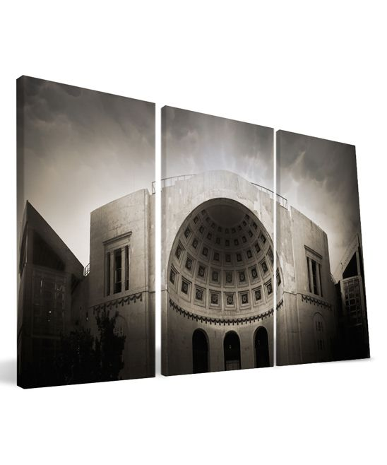 Ohio State Buckeyes Ohio Stadium Triptych Wrapped Canvas
