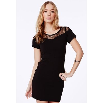 Missguided Black Bodycon Mini Dress With Lace Detail