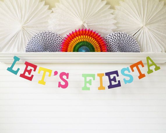 Let's Fiesta Banner - perfect sign for a taco and tequila theme party