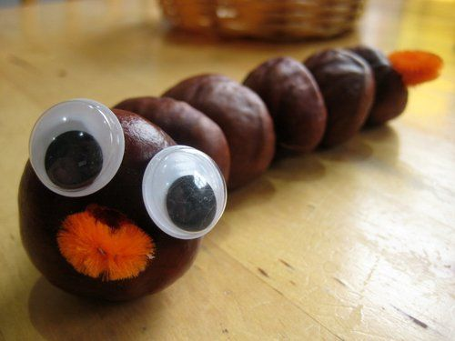 Make A Conker Caterpillar Threading Is A Great Activity