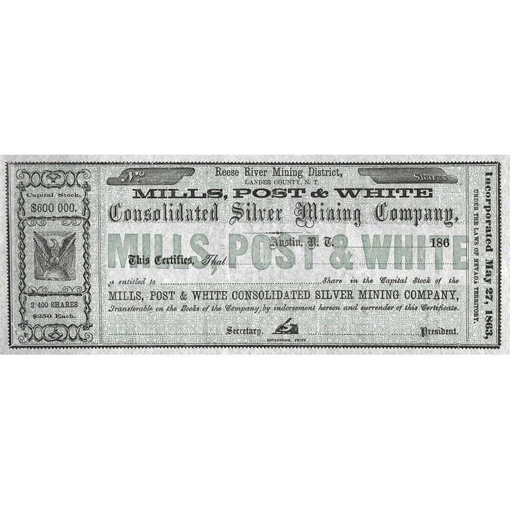 Mills, Post & White Consolidated Silver Mining Company