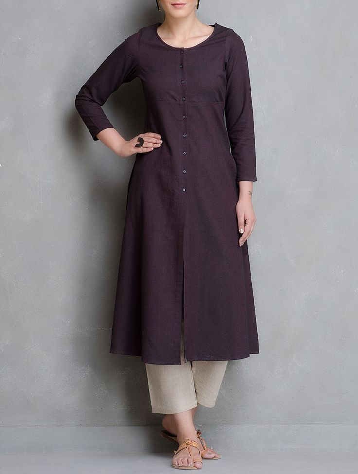 Buy Maroon Button Down Open Placket Chambrey Kurta Cotton Women Kurtas Woman Divine Contemporary and Tunics Online at Jaypore.com
