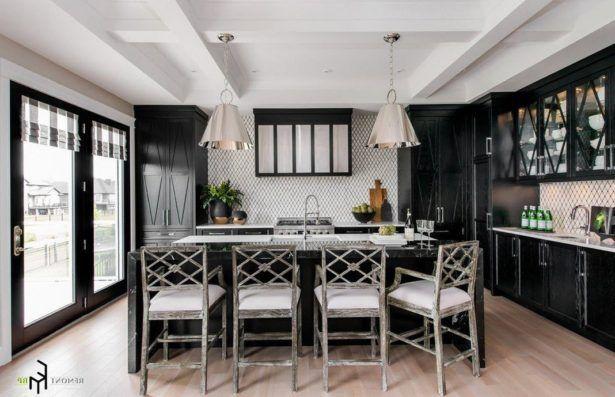 Backsplash Enchanting Kitchen Design Rustic Wooden Chairs White Patterned Lavish Black Cabinet Island Amazing Chandeliers