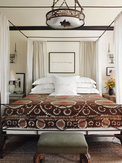 mediterranean bedroom Luminous Interiors By Brian McCarthy (Great Suzani bed cover)