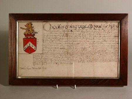 national trust collection manuscripts and documents 1599 paper and wood grant of arms to james pennymans may 1599