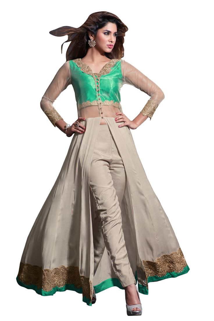 Buy Now Green-Dull White Embroidery Viscos Crepe Semi-Stitch Designer Trouser Style Salwar Suit only at Lalgulal.com  Price :- 5,198/- inr. To Order :- http://bit.ly/MH2304 COD & Free Shipping Available only in India #anarkalis #anarkalisuits #anarkali #allthingsbridal #designersuits #bridalsuits #ethnicfashion #celebrity #shopping #fashion #bollywood #india #indiafashion #bollywooddesign