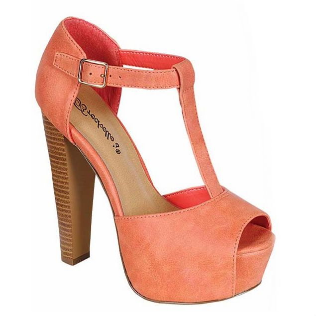 Stylish chunky high heel t-strap platform heels.  Faux leather