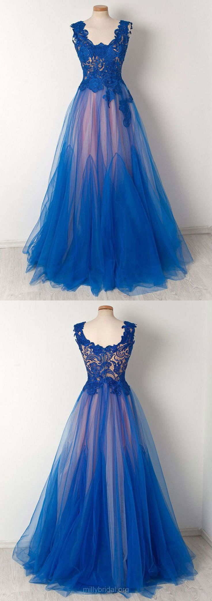 Lace Prom Dresses,Long Prom Dresses,Blue Prom Dresses 2018,Princess Prom Dresses For Teens,Scalloped Neck Prom Dresses Tulle Modest #lacedresses