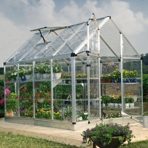 Snap and Grow  6' x 8' Snap & Grow Greenhouse         * Crystal clear as glass polycarbonate panels are virtually unbreakable and blocks 99.9% of harmful solar UV rays      * Split style door and large adjustable vent window for efficient ventilation and air circulation      * Includes pre-assembled door and window with weather-stripping      * Fast and easy assembly using Smart Lock connectors  800 lowes: Green Houses, Growing Greenhouses, Style Doors, Split Style, Houses Ideas, Vent Window