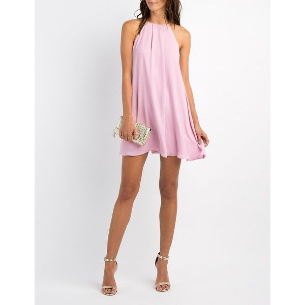 Charlotte Russe Bib Neck Shift Dress ($40) ❤ liked on Polyvore featuring dresses, mauve, holiday dresses, charlotte russe dresses, bridesmaid dresses, evening dresses and one strap prom dresses