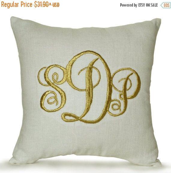 20% Sale Dorm Decor Dorm Pillow Linen Monogram by AmoreBeaute